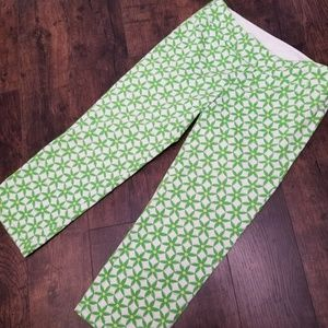 Lilly Pulitzer Cotton/Spandex Green Daisy Capri's